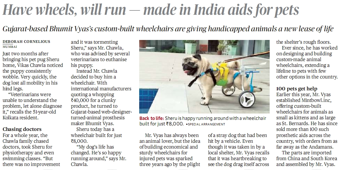The Hindu News paper Article Mintbowl Dog Wheelchairs india